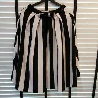 Monochrome Strips Midi Skirt
