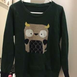 Green Owl Knit Sweater