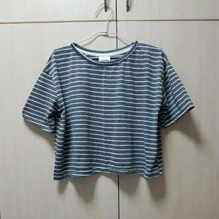 Grey White Stripe Crop Top $5mailed Fits Size M L