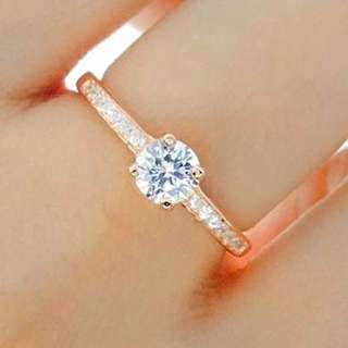 Rose Gold Plated Sterling Silver 5mm Cubic Zirconia Ring
