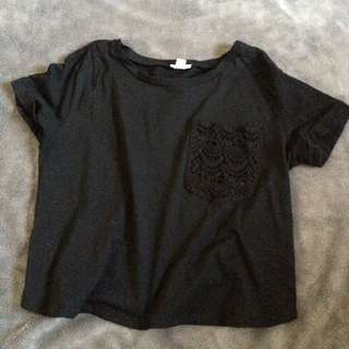Black Crop Top With Lace Pocket