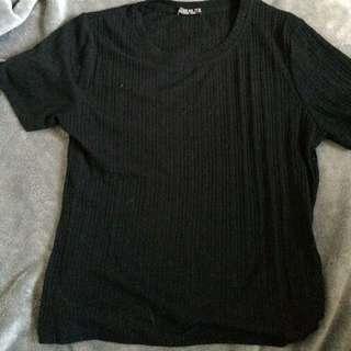 Black Textured Crop Top