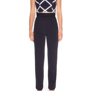 NWT Designer FINDERS KEEPERS Navy High Waist Pants SZ S -RRP $150
