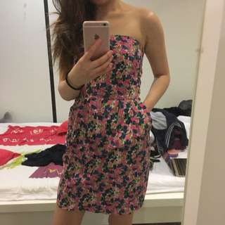 Zara Flower Strapless Dress