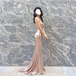 Custom Made Gold Sequin Maxi Formal Dress SIZE XS