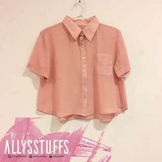 [PRELOVED] Unbranded Pink Crop Shirt