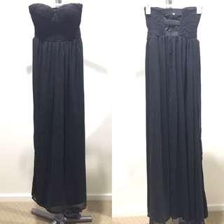 Strap/strapless Black Maxi Dress with Lace Top / Chiffon Bottom