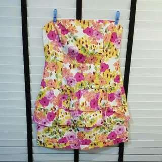 Floral Peplum Tube Dress