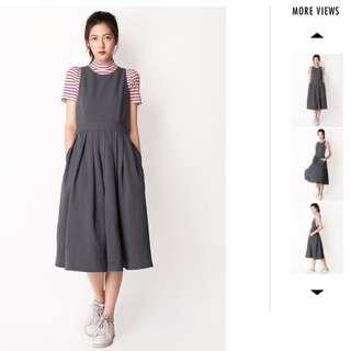 BN Afa Xanthe Pinafore Dress In Grey
