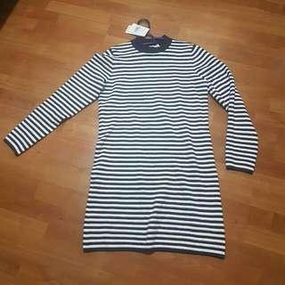 Turtle Neck Stripe Sweater Dress