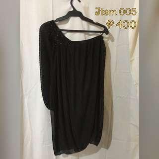 Half Shoulder Black Dress