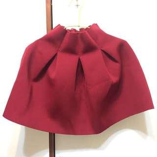 全新 太空棉短裙 酒紅色