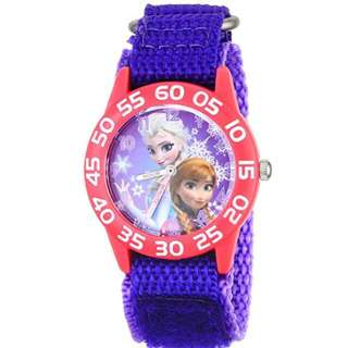 Kids' W001789 Frozen Elsa and Anna Watch, Purple Nylon Band
