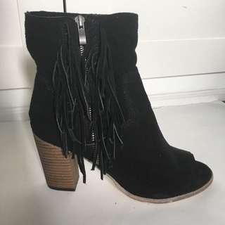 Black Fringe Peep Toe Heels