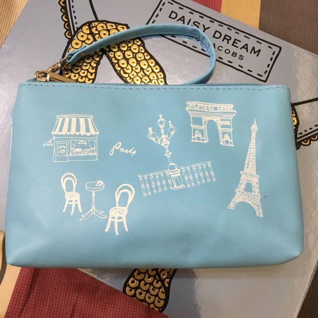 水藍旅行風手拿包