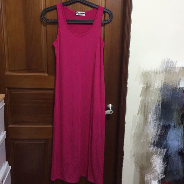 桃紅色連身長裙