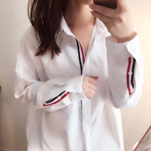 正韓🇰🇷配色鑲邊白襯衫