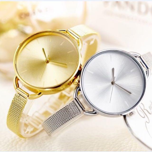 全新韓國氣質精緻小金錶銀錶手錶女錶,便宜出清!