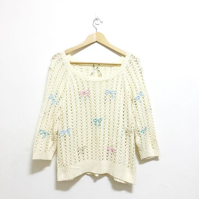 《寄出》日本購入 蝴蝶結刺繡透膚針織毛衣