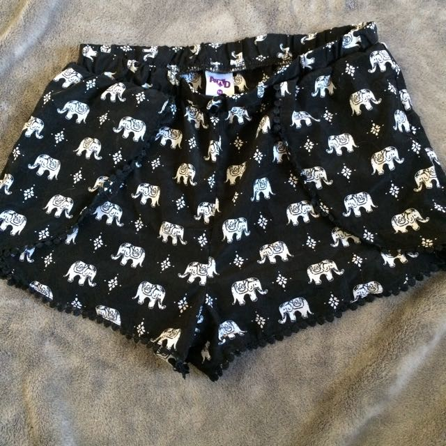 Black And White Elephant Shorts