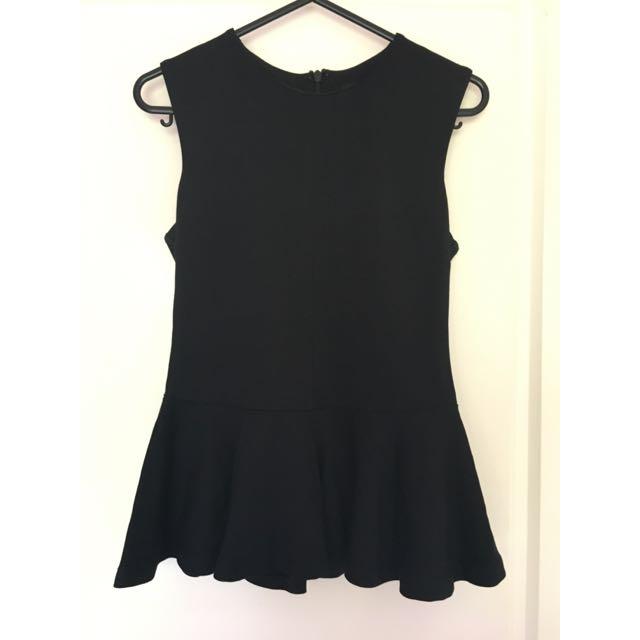 Black Bardot Peplum Top