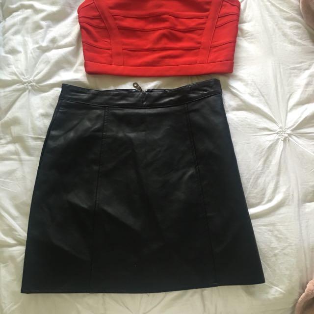 Black Leather Look Skirt