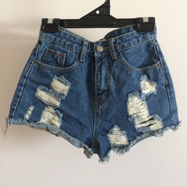 Blue Denim Ripped Shorts Size 7