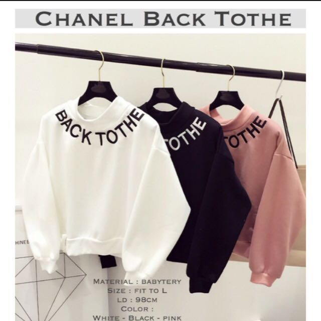 Chanel Back To The Sweater ❤️ Pink Hitam Putih