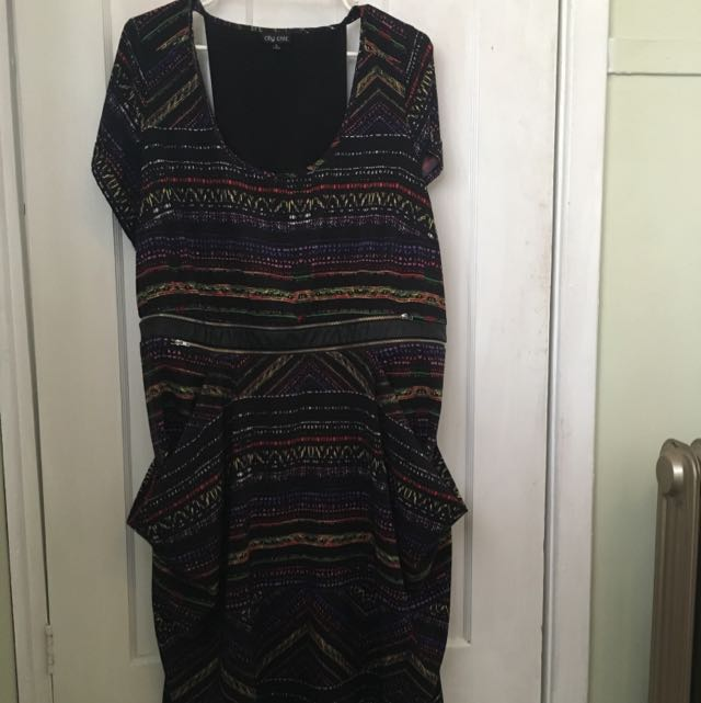 City Chic Aztec Pattern, Pocketed Mid Length Dress, With Cut Out Panel Detail On The Back, XL