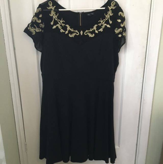 City Chic Black With Gold Embroided Detailing Skater Dress, XL.