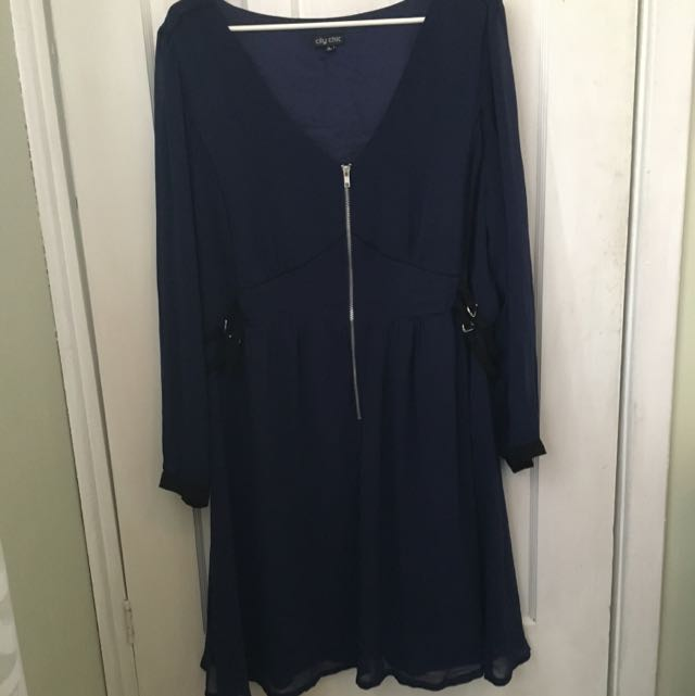 City Chic Long Sleeve XL Knee Length Dress In Navy Blue.