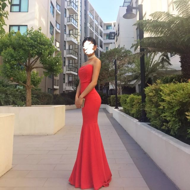 Custom Made Red Strapless Maxi Formal Dress SIZE XS/6-8