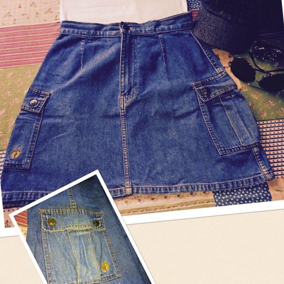 """denim miniskirt w/side pocket by HANG TEN"