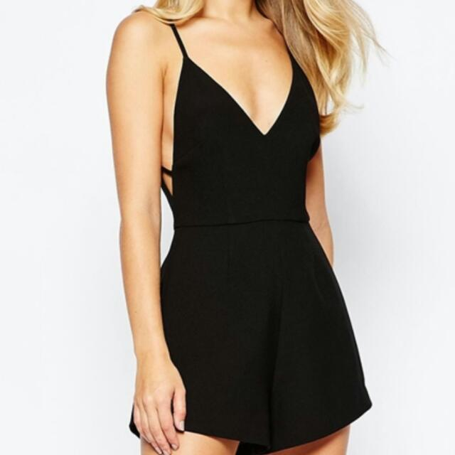 Finders keepers Stand Still Black Playsuit Size S
