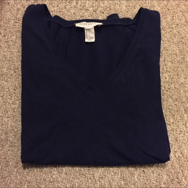 forever 21 navy blue vneck long sleeve