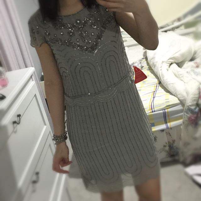 Gatsby Embellished Dress Grey Cocktail AU8