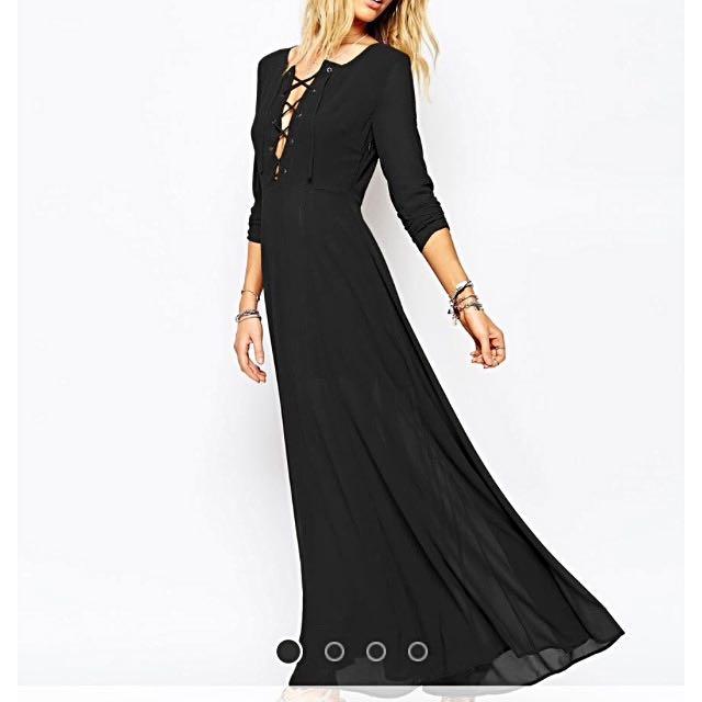 Glamorous Lace Up Maxi Dress Size 8