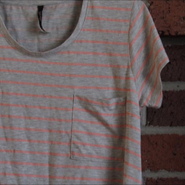 Grey And Orange Striped T-shirt Dress