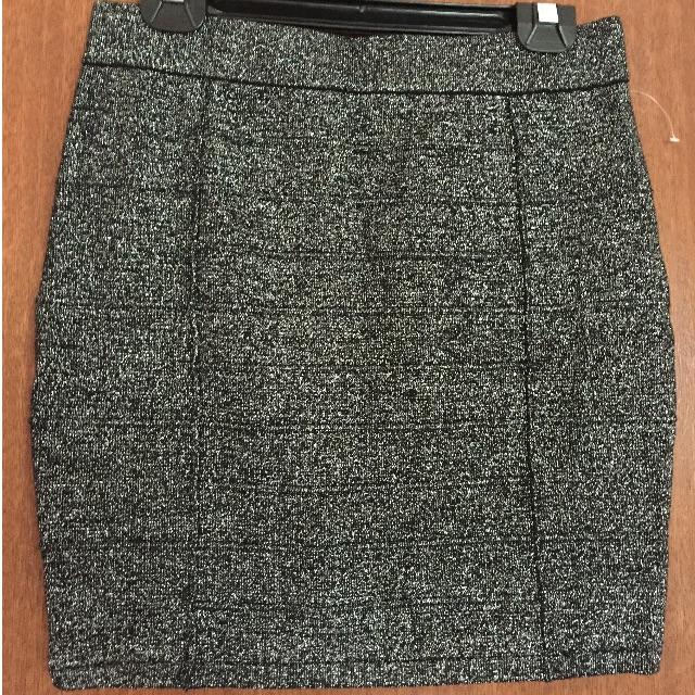 Grey Glitter Knit Bandage Mini Skirt Size M