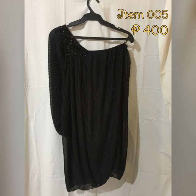 Half Shoulder Black Dress