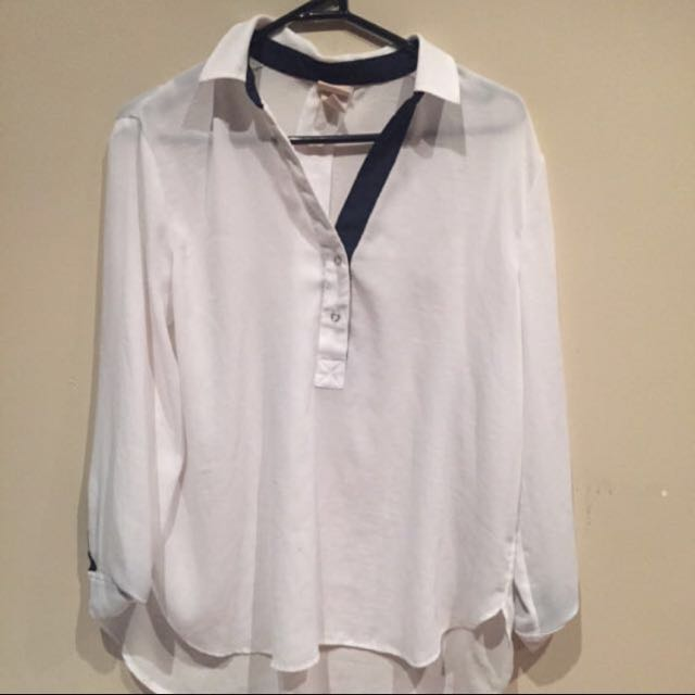 H&M White Blouse With Black Lining