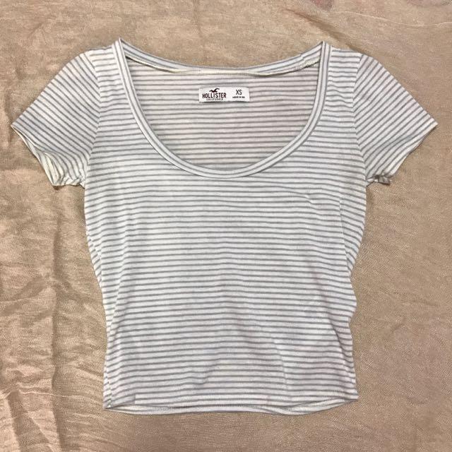 b96d87ed9a Pending Hollister Striped Crop Top, Women's Fashion, Clothes, Tops ...