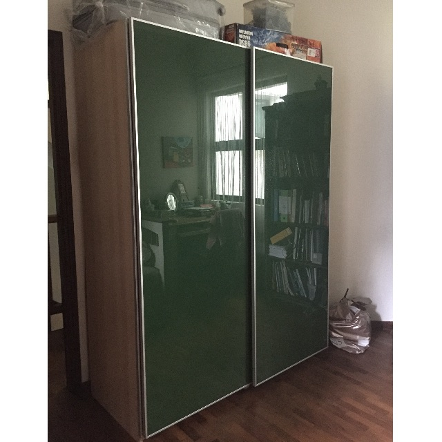 Ikea Glass Sliding Door Wardrobe Furniture Shelves Drawers On