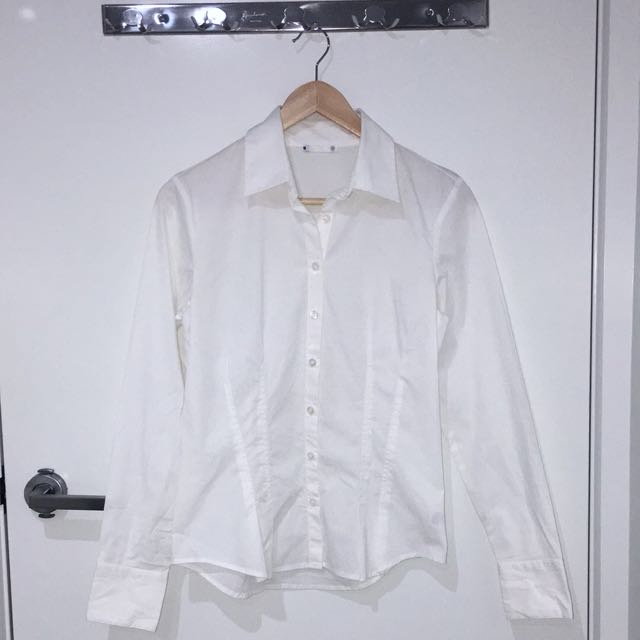 Long Sleeve White Blouse (size 8)
