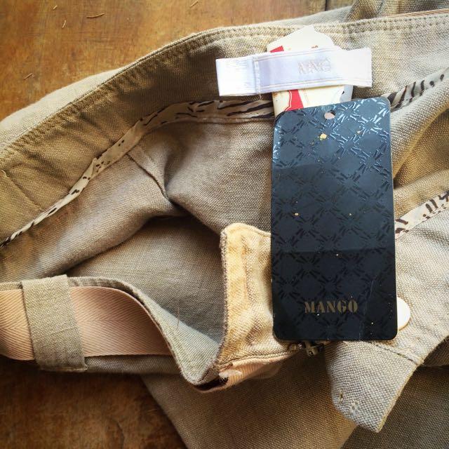 MANGO Khaki Linen Pants