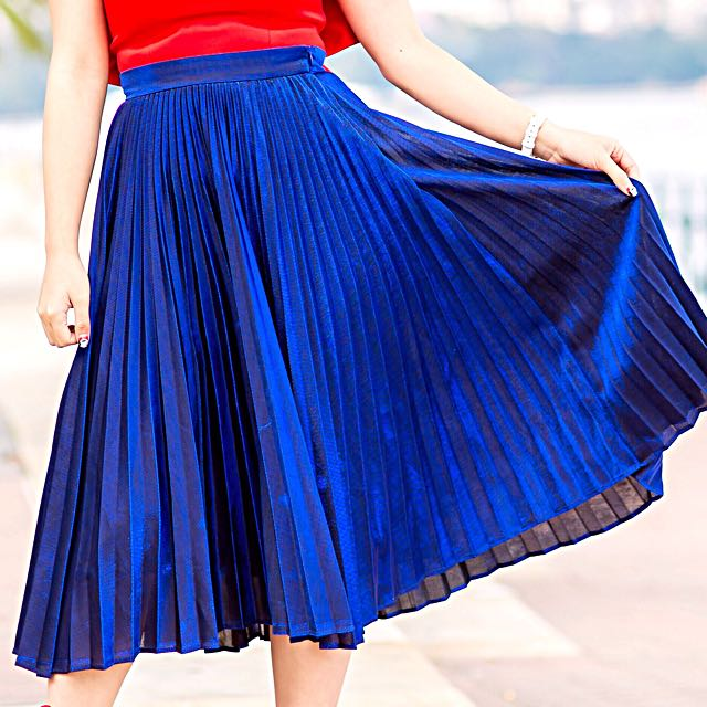 Metallic blue Pleated Midi Skirt
