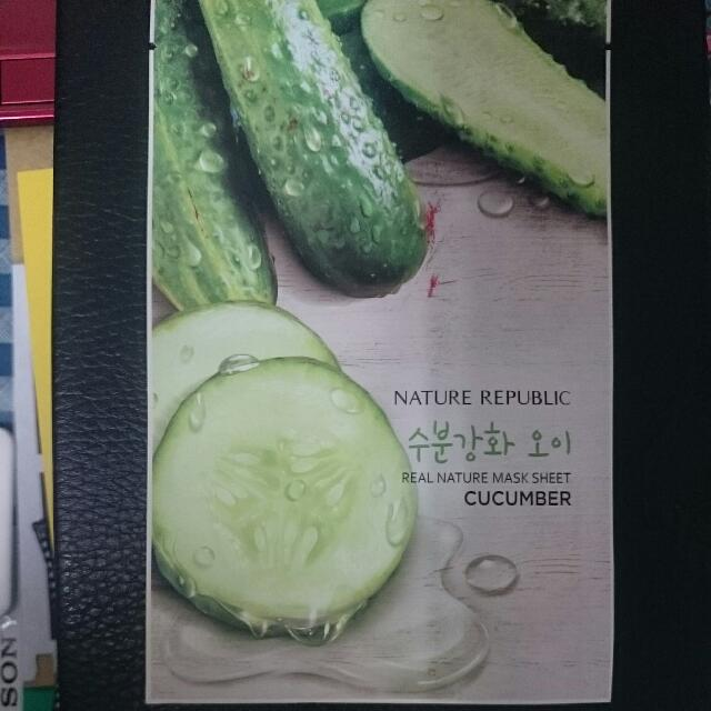 NATURE REPUBLIC - Real Nature Mask Sheet CUCUMBER (1 Piece), Health & Beauty, Bath & Body on Carousell