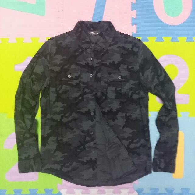 Net 黑迷彩 法藍絨 磨毛襯衫(保留)