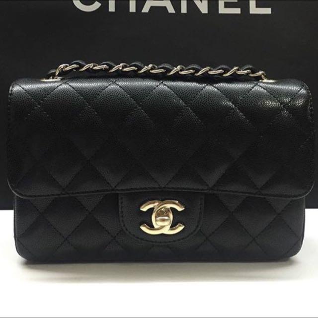 Chanel Classic Mini Flap Bag 2016 Black Calfskin 39b864bbbbc0b