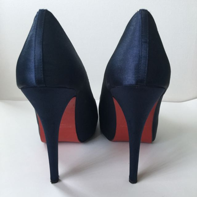Peeptoe Miss Soho Heels In Satin Navy 37 (6)